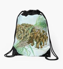Pine Cones on a Sunny Afternoon Drawstring Bag