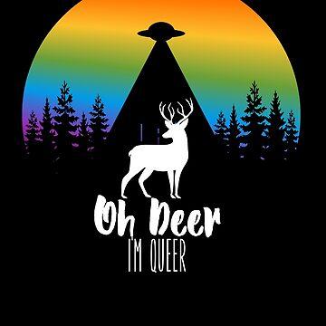 Oh Deer I'm Queer - Funny LGBT Rainbow Gay Pride T-Shirt by SABRA11