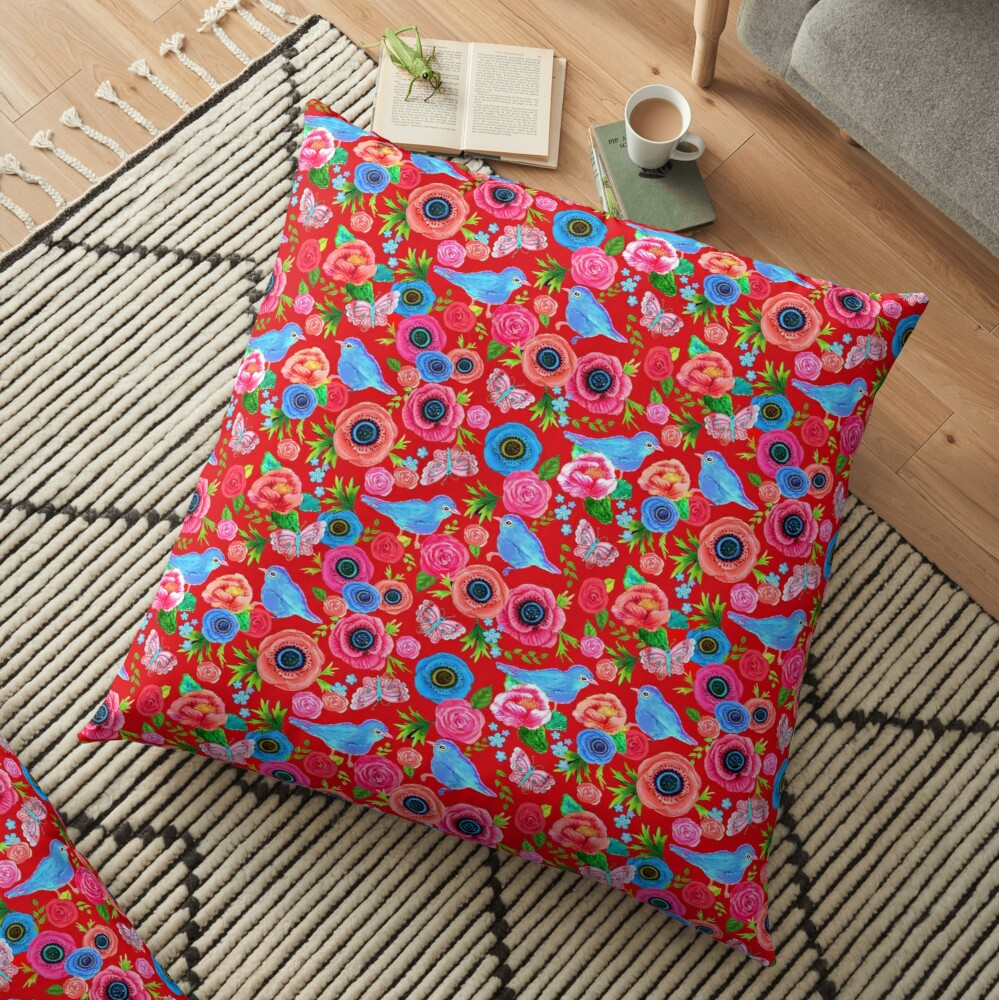 red Floral with bluebirds Floor Pillow