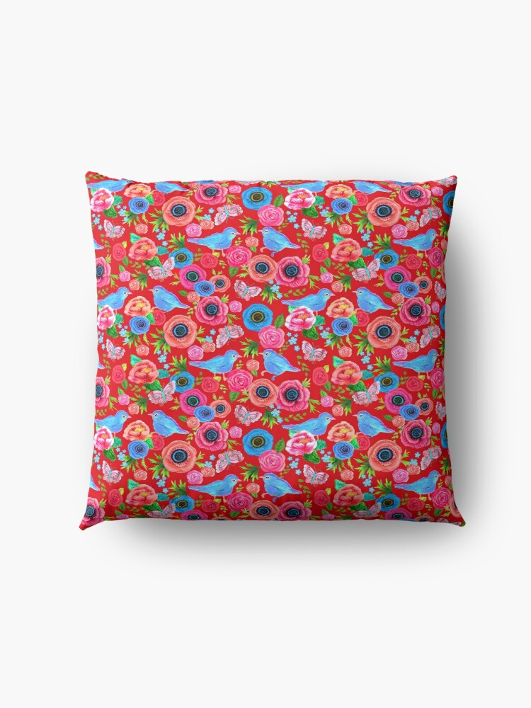 Alternate view of red Floral with bluebirds Floor Pillow