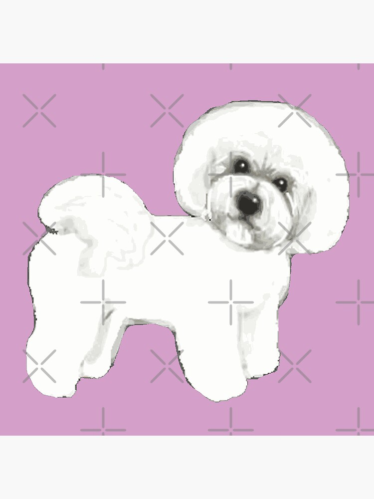 Bichon Frise Dogs on lilac, purple by MagentaRose