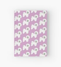 Bichon Frise Dogs on lilac, purple Hardcover Journal
