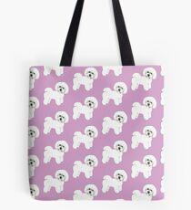 Bichon Frise Dogs on lilac, purple Tote Bag