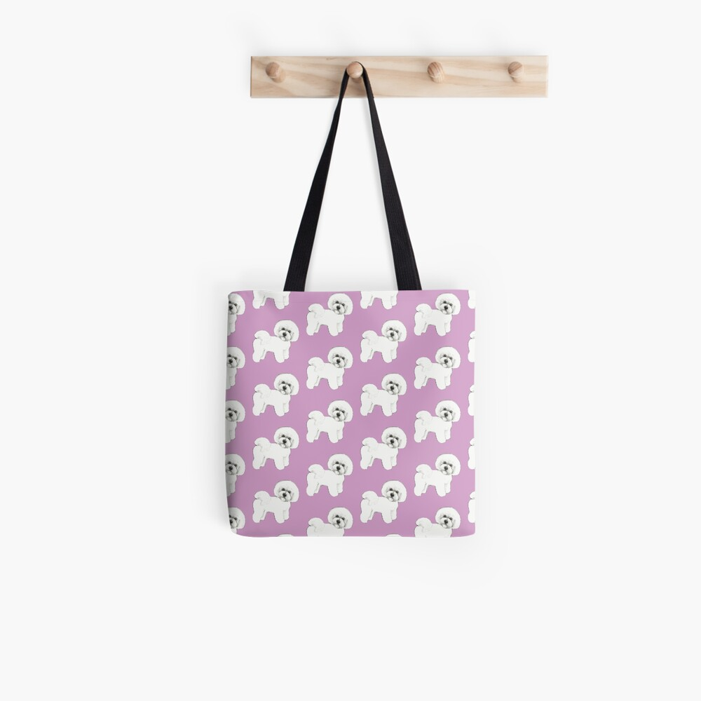 Bichon Frise Dogs on lilac, purple Tote Bag