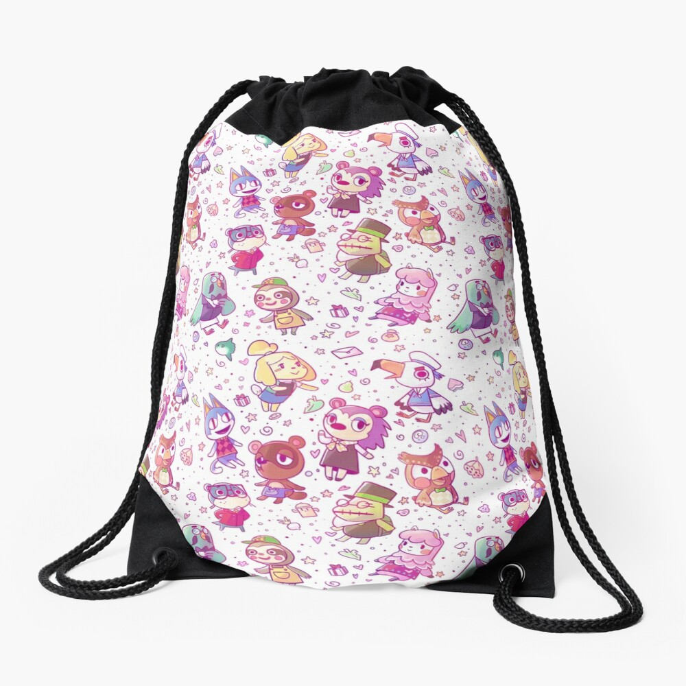 Animal Crossing Pattern Drawstring Bag
