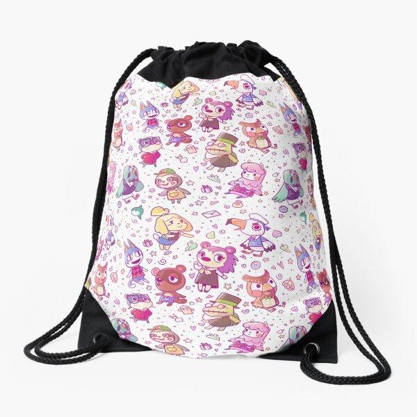 Animal Crossing Pattern Drawstring Bag