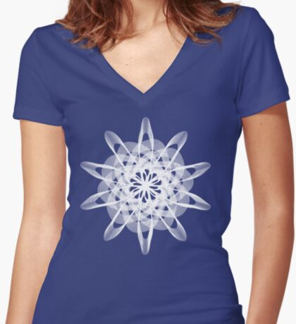 Spirograph with white Fitted V-Neck T-Shirt