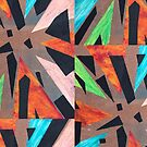 Abstract Triangle explosion -Red, orange, blue, green, yellow, pink, Black, and tan  by kina lakhani
