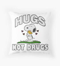 Hugs Not Drugs.  Throw Pillow
