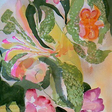 Summer Floral Pinks and Greens Watercolor by Naquaiya