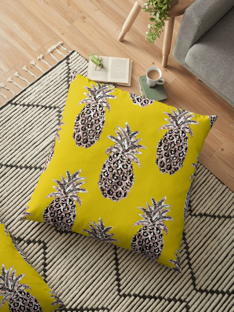 Gold Pineapples on Mustard yellow by MagentaRose