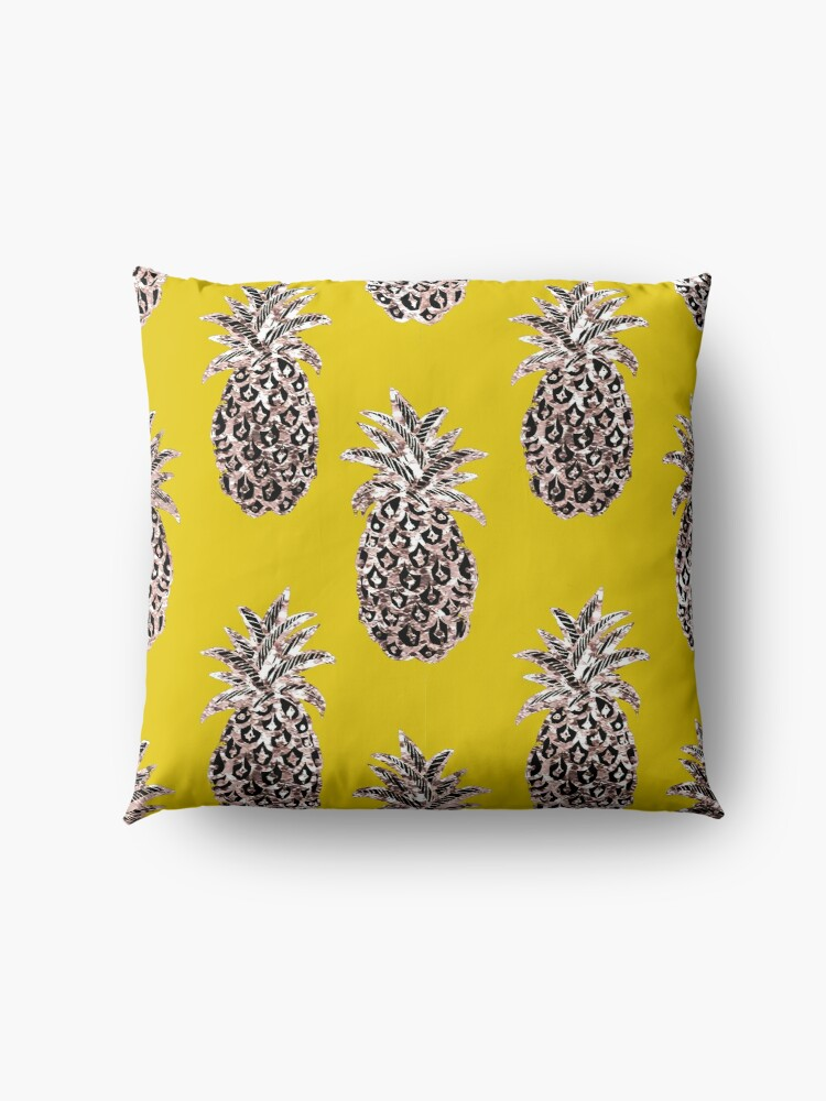 Alternate view of Gold Pineapples on Mustard yellow Floor Pillow