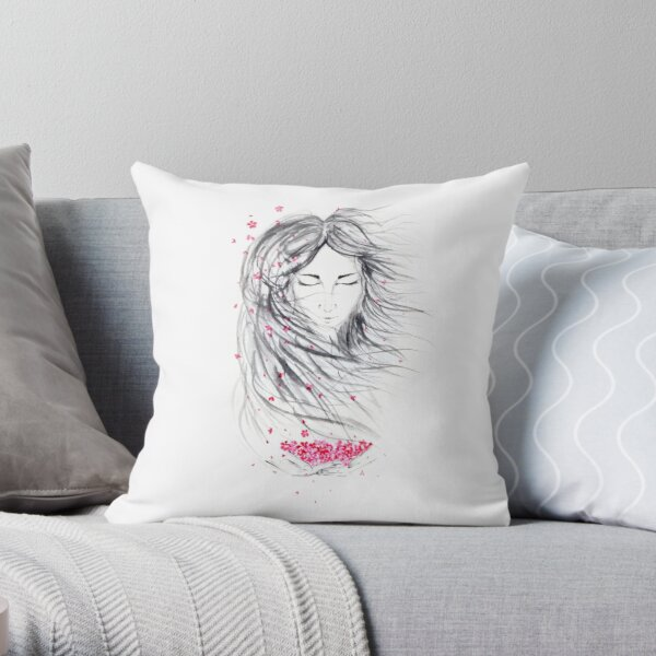 Asian woman painted face portrait with long wild hair and pink sakura blossoms in her hands art print Throw Pillow