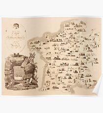 Gastronomic Map Of France 1809 Poster