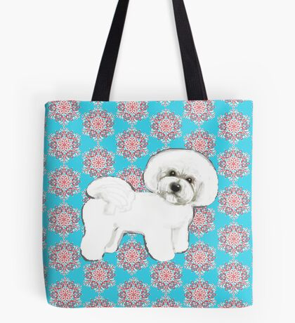 Christmas Bichon Frise dog on Red and teal snowflakes, Bichon Gift for her,, Bichon Mom, holidays Tote Bag