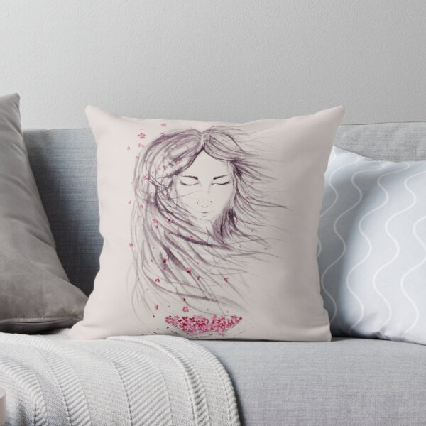 Beautiful asian woman face with long flying wild hair and pink sakura blossoms in her hands art print Throw Pillow