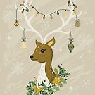 Christmas Deer in Gold Tones by latheandquill