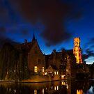 Rozenhoedkaai Bruges At Night by Ann Garrett