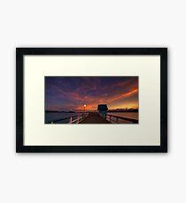 Orange Wharf Dusk Framed Print
