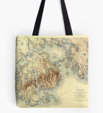 Map Of Acadia National Park 1931 Tote Bag