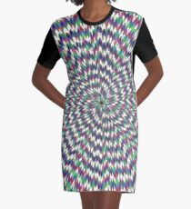 #abstract #blue #psychedelic #pattern #fractal #green #pink #design #decorative #graphic #digital #yellow #illustration #geometric #red #wallpaper #art #explosion #star #illusion #flower #purple Graphic T-Shirt Dress