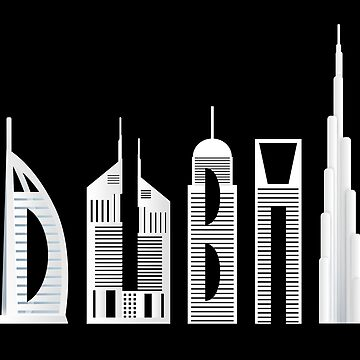 Dubai skyline souvenir famous buildings typography by peter2art