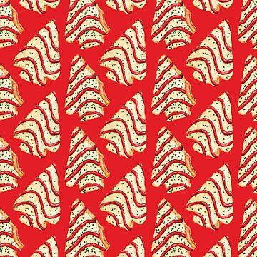 Christmas Tree Cakes Pattern - Red by KellyGilleran