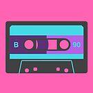 80s Cassette Tape Pop Art Pink Purple Retro Vintage Vibe Bold Graphic Print by ladyluck777