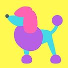 Poodle Pop Art Pink Purple Yellow Turquoise Dog Print Bold Graphic Print by ladyluck777