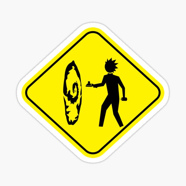 A yield sign that uses Rick from Rick and Morty Sticker