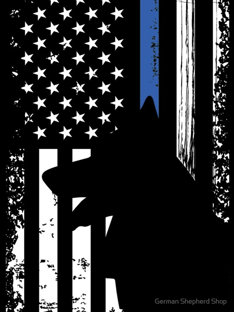 Thin Blue Line Flag K9 German Shepherd Police Dog by GSDTips2018