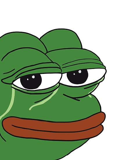 """""""Pepe The Frog crying with tears and content smile Happy ..."""