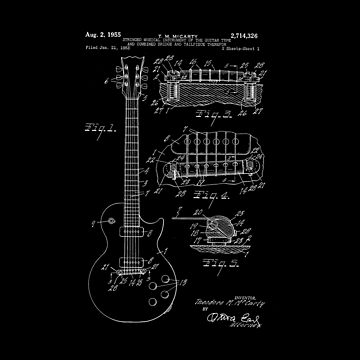 1955 Vintage Electric Guitar Patent Print Art by ericthemagenta