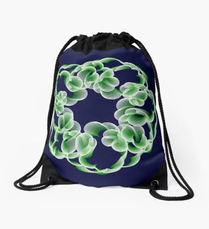 Spirals with Green and White Drawstring Bag
