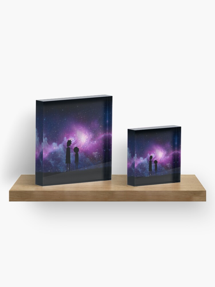 Alternate view of Minimalist Rick and Morty Space Design Acrylic Block