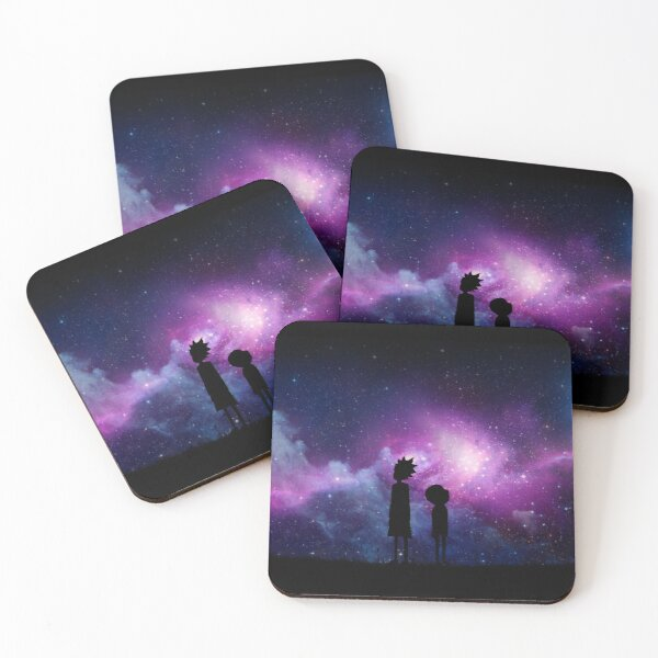 Minimalist Rick and Morty Space Design Coasters (Set of 4)