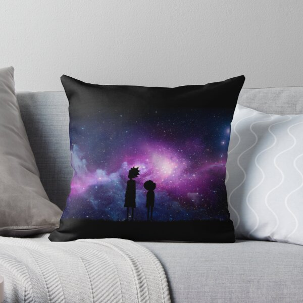 Minimalist Rick and Morty Space Design Throw Pillow