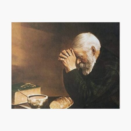 Grace Old Man Praying Over Bread Eric Enstrom Art Board Print