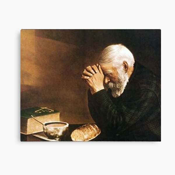 Grace Old Man Praying Over Bread Eric Enstrom Canvas Print