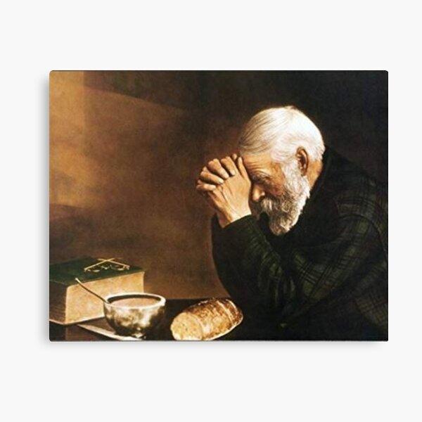Gracia anciano rezando sobre pan Eric Enstrom Lienzo
