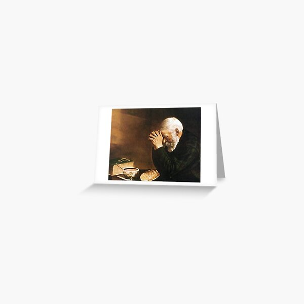 Grace Old Man Praying Over Bread Eric Enstrom Greeting Card