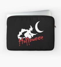 Halloween Hexe auf Besen Laptoptasche