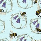 Bee Around on cornflower blue by henryflorence