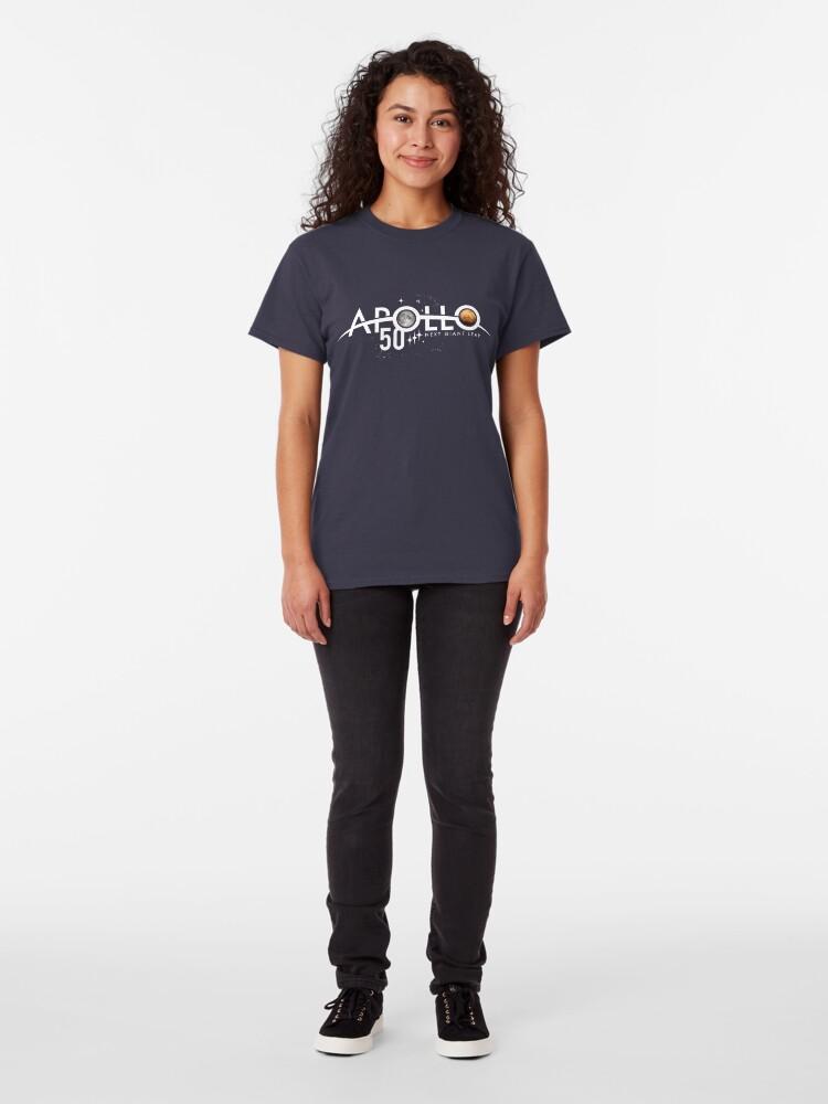 Alternative Ansicht von Apollo 50th Anniversary Logo - Nächster Riesensprung - Zuerst der Mond, nächster Mars! Classic T-Shirt