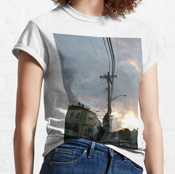 #wire #electricity #sky #danger industry steel station sunset outdoors travel technology horizontal colorimage fuelandpowergeneration nopeople transportation highup constructionindustry Classic T-Shirt