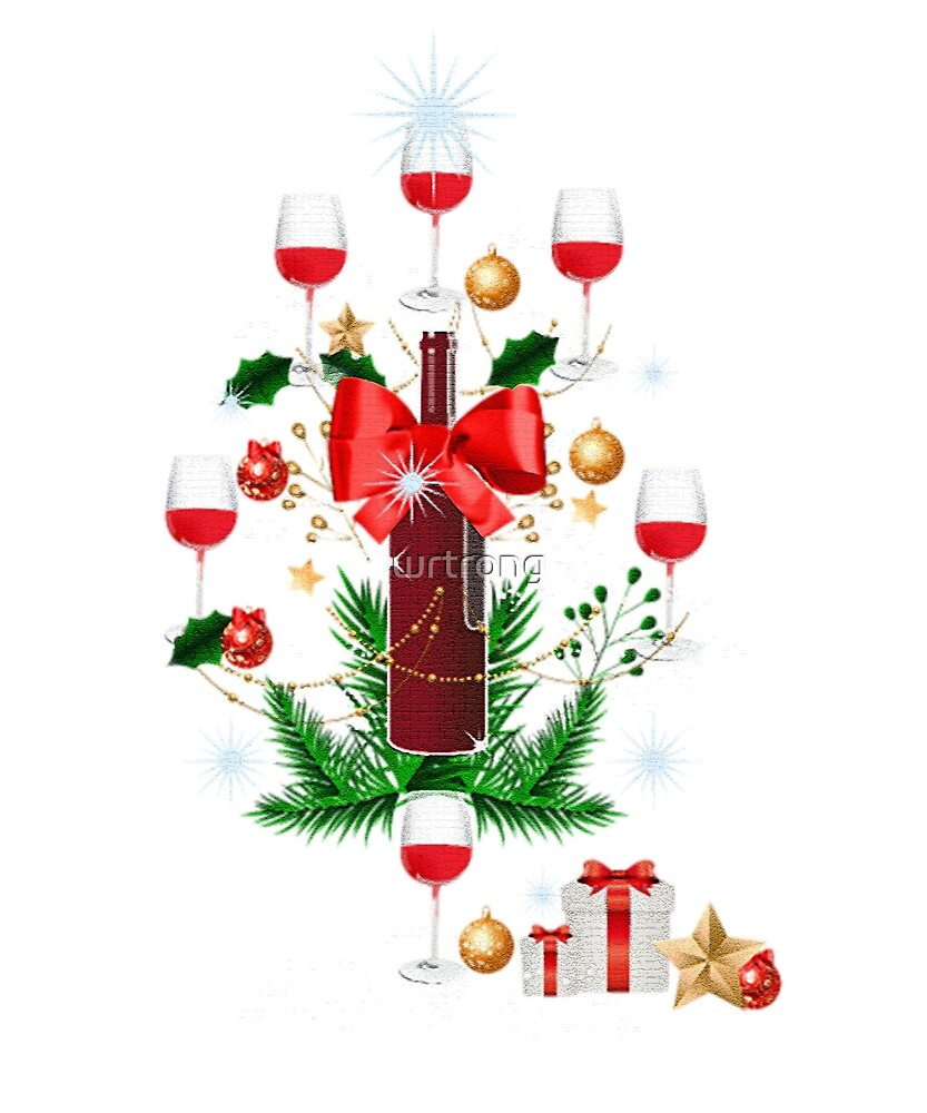 Christmas t-shirt for wine lover - Christmas tree wine shirt by wrtrong