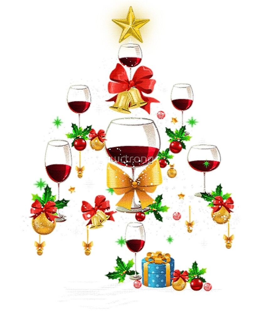 Christmas Xmas Wine Tree T-Shirt Gift For men women by wrtrong