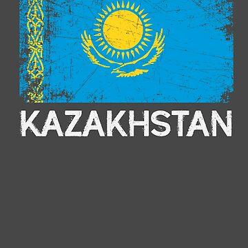 Kazakh Flag Design | Vintage Made In Kazakhstan Gift by melsens
