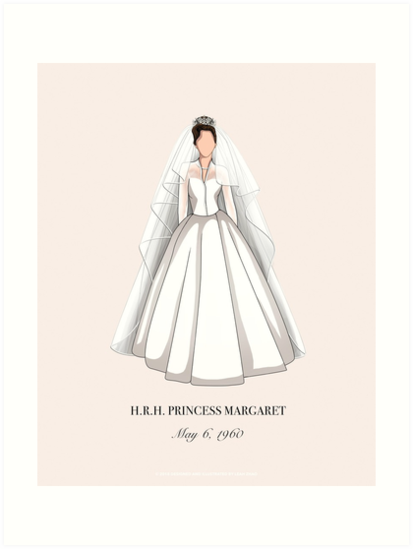 Princess Margaret Minimal Wedding Dress Wall Art Print (In Parchment Beige) by Leah Zhao