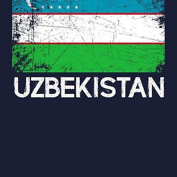 Uzbek Flag Design | Vintage Made In Uzbekistan Gift by melsens